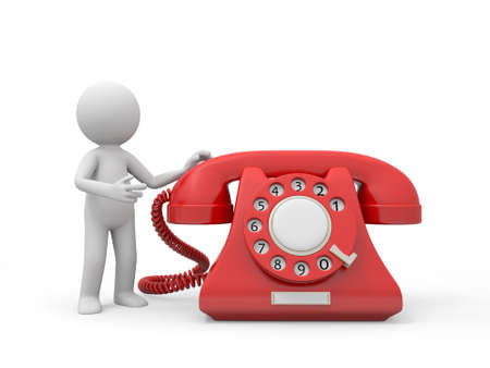 A 3d person introducing a red phone call Stock Photo - 18910053