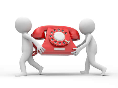 Two 3d people carrying a red phone call Stock Photo - 18910090