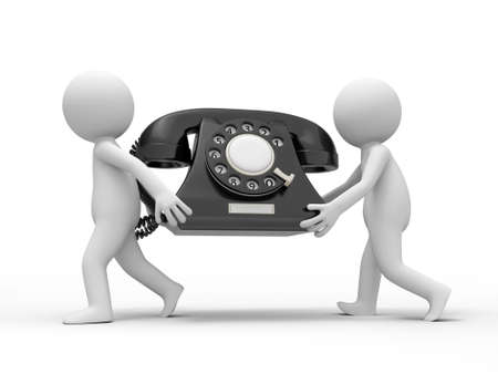 Two 3d people carrying a red phone call Stock Photo - 18910035