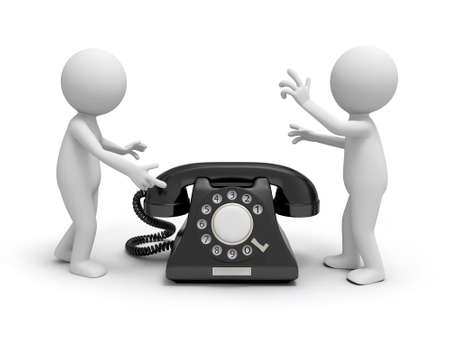 Two 3d people discussing, a phone call background  photo
