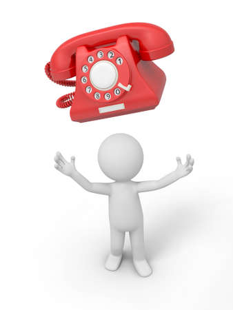 red telephone: A 3d person looking up at a phone call Stock Photo
