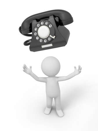A 3d person looking up at a phone call Stock Photo - 18910031