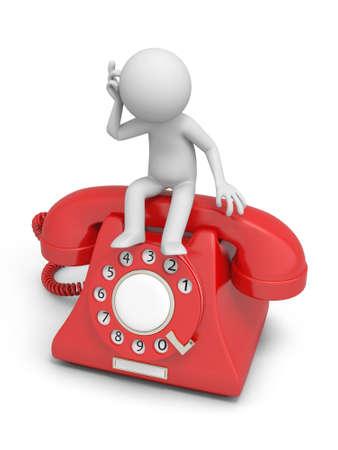 Un hombre sentado 3d pensando en una llamada telefónica Foto de archivo - 18910198