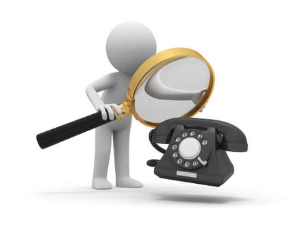 A 3d person watching a telephone with a magnifying glass Stock Photo - 18909948