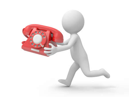 help icon: A 3d man running with a telephone in hand Stock Photo