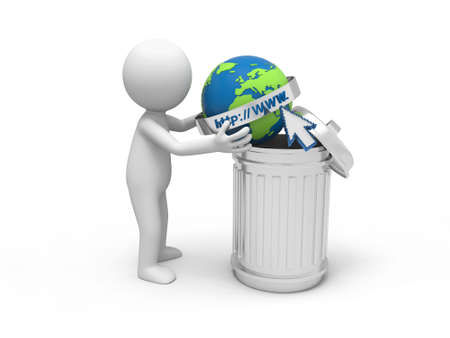 A 3d man throwing the internet model into a dustbin photo
