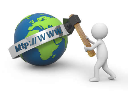 url web: A 3d person cutting the internet model with an axe Stock Photo