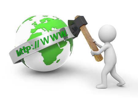 A 3d person cutting the internet model with an axe Stock Photo - 18910149