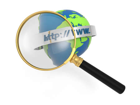 A magnifying glass magnifying the internet model Stock Photo - 18910153