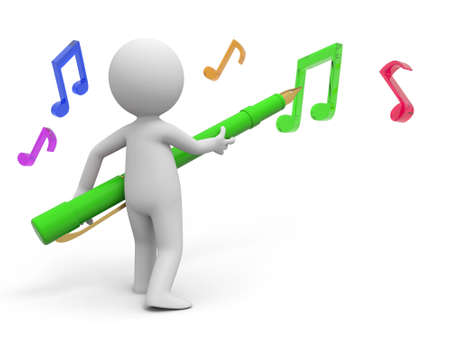 computer dancing: A 3d person writing the notes with a pen Stock Photo