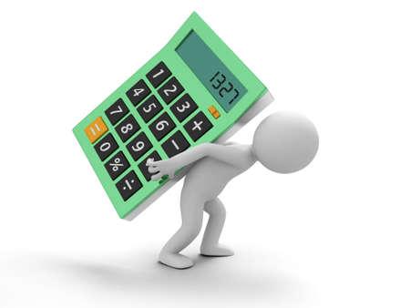 3d person: Una persona 3d que lleva una calculadora grande Foto de archivo
