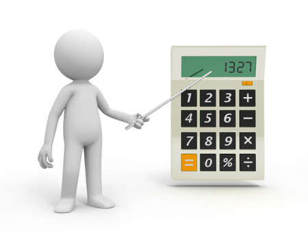 A 3d person pointing to a big calculator photo