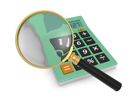 A 3d magnifying glass, a 3d calculator photo