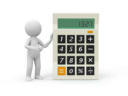 introducing: A 3d person introducing the calculator to the people