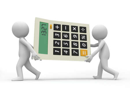 Two 3d men carrying a big calculator photo