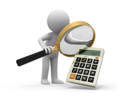 subtract: A 3d man watching a calculator with a magnifying glass Stock Photo