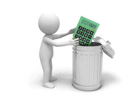 three dimensional: A 3d man throwing the calculator into a dustbin