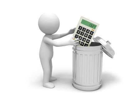 subtract: A 3d man throwing the calculator into a dustbin