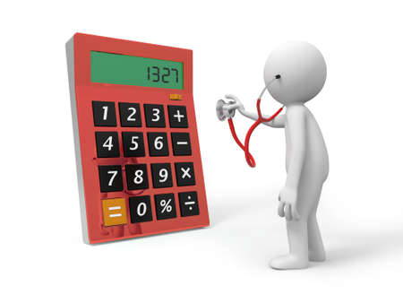 A 3d person examining the calculator with a stethoscope photo
