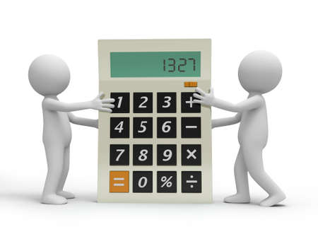 Two 3d persons carrying the calculator, talking photo