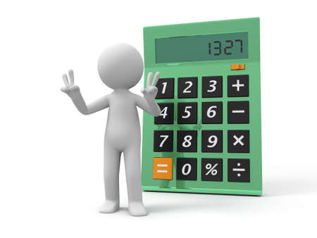 subtract: A 3d man standing back to the calculator Stock Photo