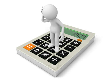 subtract: A 3d man standing on a calculator, thinking Stock Photo