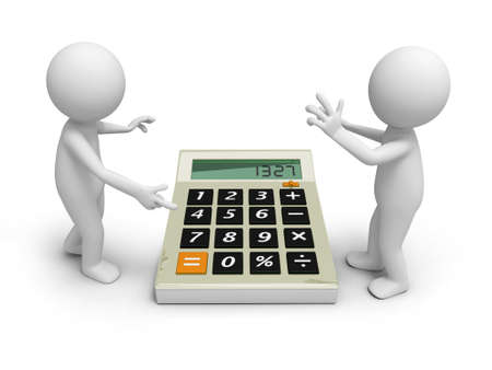 minus: Two 3d man discussing, a calculator being between them Stock Photo