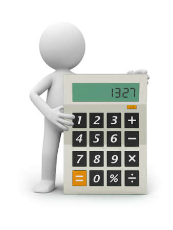 A 3d person introducing the calculator to the people photo