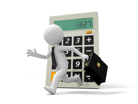 A 3d businessman running back to a calculator Stock Photo - 19017173