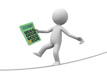 A 3d man with a calculator walking on the wire Stock Photo - 19017179