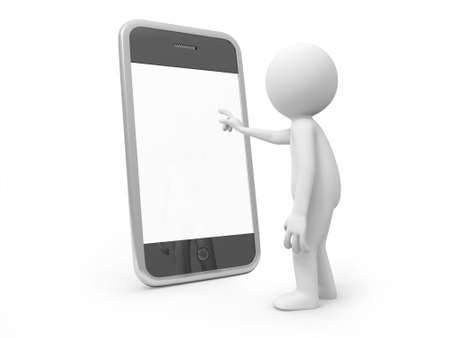 man on cell phone: A 3d man pointing at a mobile phone