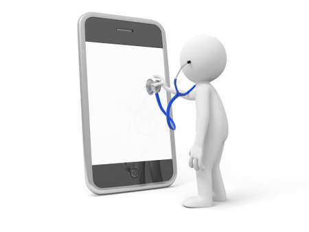 A 3d man watching a mobile phone with a stethoscope