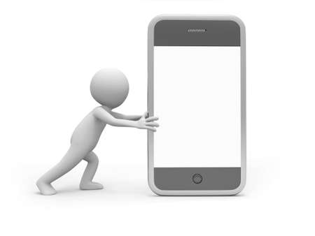 man on cell phone: A 3d man pushing a mobile phone Stock Photo