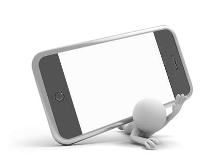 man on cell phone: A 3d man pressed by a mobile phone
