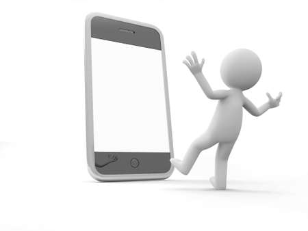 man on cell phone: A 3d man surprised by the mobile phone