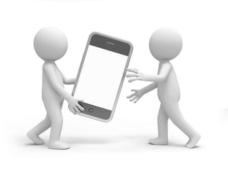 Two 3d men carrying a mobile phone photo