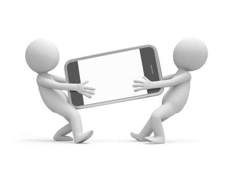 telefono caricatura: Dos hombres 3d que llevan un teléfono móvil
