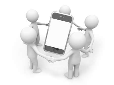 3d circle: Five 3d men making a circle, a mobile phone in the circle