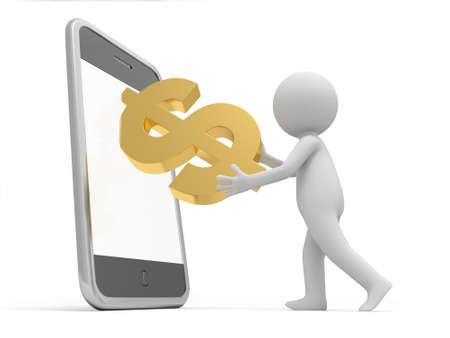 pda: A 3d man putting the money inside the mobile phone Stock Photo