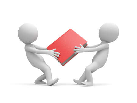 e learnig: Two 3d men snatching a red book Stock Photo