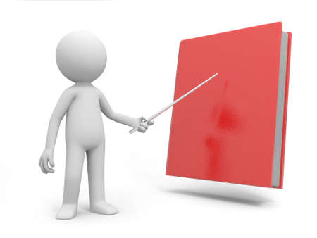 e learnig: A 3d man pointing at a book with a stick