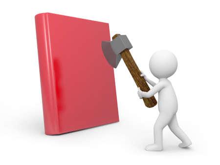 e learnig: A 3d man cutting a book with an axe
