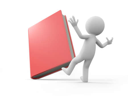e learnig: A 3d man surprised by a red book