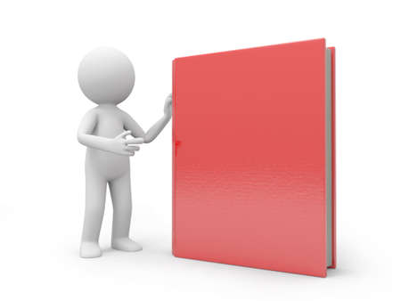 introducing: A 3d man introducing a red book to the people