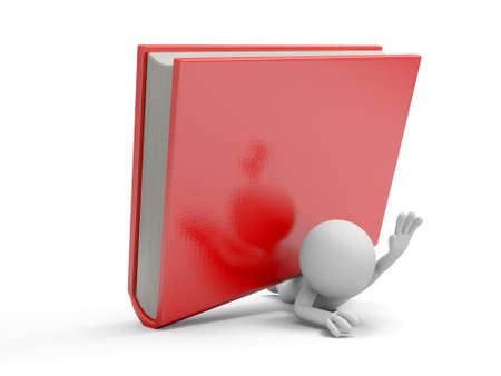 e learnig: A 3d man pressed by a red book