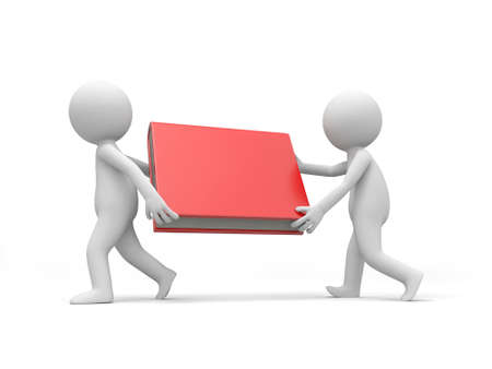 e learnig: Two 3d men carrying a red book Stock Photo