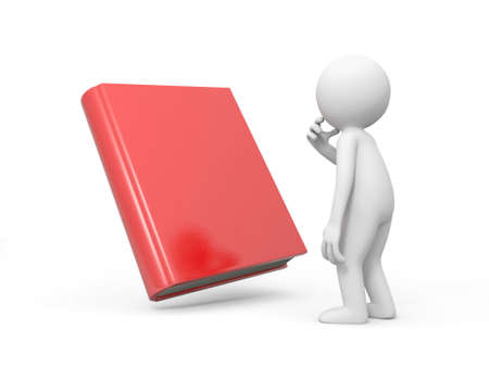 e learnig: A 3d man thinking face to a red book Stock Photo