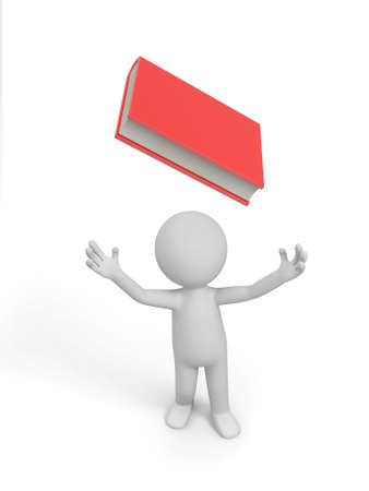 e learnig: A 3d man looking upon a red book