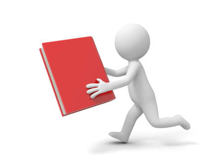 e learnig: A 3d man running with a book in hand