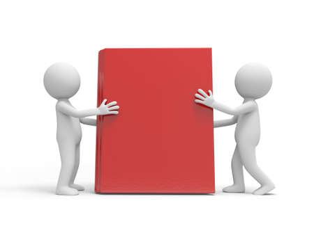 Two 3d men supporting a book with hands Stock Photo - 19160485